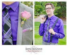 Groom suspenders, purple tie, purple and pink wedding color palette   www.raynamcginnisphotography.com