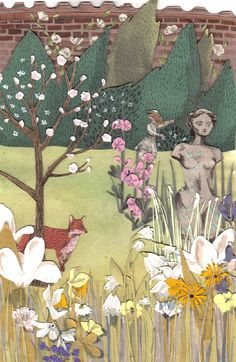 Love Emma Block's collage, watercolor painting. Great children's stories & illustrations.This one is from The Secret Garden: Wonderful illustrations by Emma Block http://emmablock.co.uk/#1573067/The-Secret-Garden