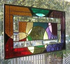 **BOUNCING BALLS & BEVELS** Stained Glass Window Panel (Signed and Dated)