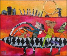 Elke Trittel acrylics, collage on canvas 25/30cm