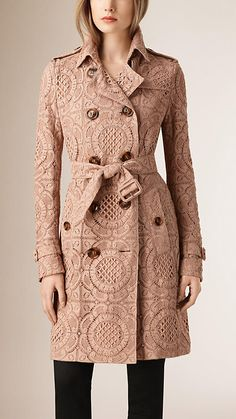 Burberry Nude English Lace Trench Coat - A trench coat crafted from English-woven lace. The fitted piece is fully lined in smooth stretch silk. Design details including epaulettes, a gun flap and storm shield reference the original Burberry trench coat.  Discover the women's outerwear collection at Burberry.com