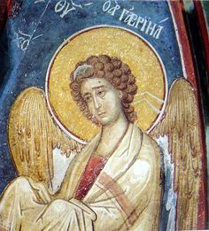 the archangel Gabriel Byzantine Icons, Byzantine Art, Religious Icons, Religious Art, Archangel Gabriel, Angels In Heaven, Heavenly Angels, Orthodox Icons, Christian Art