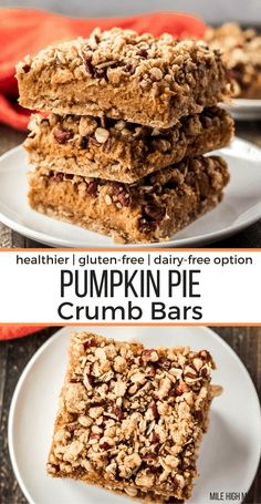Want to make a twist on a classic for your Thanksgiving dessert this year? These Pumpkin Pie Crumb Bars have a simple crust mixture for both the bottom and topping, with a classic pumpkin pie filling in between. With texture from oats and pecans, and some options for a healthier treat, these bars are an easy and tasty treat! Easily made gluten-free and dairy-free too. Best Gluten Free Desserts, Gluten Free Pie, Gluten Free Brownies, Gluten Free Pumpkin, Homemade Desserts, Easy Desserts, Dessert Recipes, Pie Recipes, Healthy Pumpkin Pies