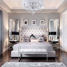 Decorate the bedroom: design your oasis of well-being - eigenes Haus - Schlafzimmer Small Room Bedroom, Cozy Bedroom, Bedroom Sets, Home Decor Bedroom, Bed Room, Bedroom Black, Silver Bedroom, Master Bedrooms, Bedroom Inspo