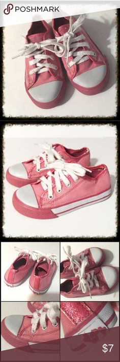 "❎3/$15 Pink Converse Style Sneakers Size 10 From the Children's Place, these pink ""chucks"" style shoes have been well worn but will make a great play shoe. Shoe laces are a little bit fuzzy and one has a knot that I couldn't get out but it doesn't affect the shoe from being tied. They have cute pink sparkle trim. Soles are in excellent condition. Canvas upper. 🐶Bundle 3 $10 items for $15. Add them to a bundle, offer $15, & I will accept. 🐶 Shoes Sneakers"