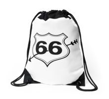 My heart is on route 66 Drawstring Bag