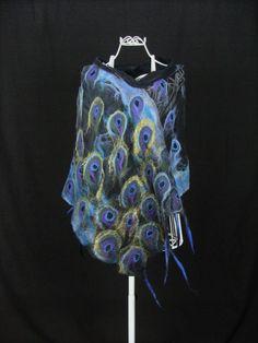 Silk and Wool scarf, Black Silk Scarf. Nuno Felt Scarf, Wool Scarf, Felted Scarf, Purple Peacock, Pet Odors, Handmade Scarves, Nuno Felting, Mulberry Silk, Shawls And Wraps