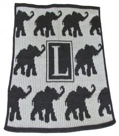 Walking Elephant Blanket Personalized with Initial
