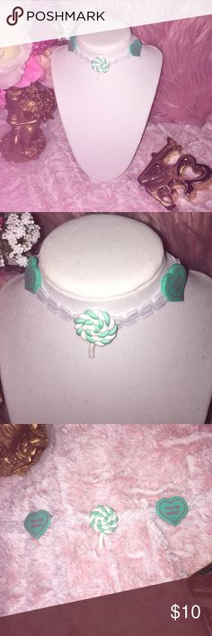 """White lace candy choker🍭💝 Adorable white lace turquoise candy sweet heart.                 🖐🏼🌸Handmade   👉🏼🌸12"""" extends to 15"""" 👆🏼 🌸 You may request color of extender gold or silver.  Remember all neck sizes are different, this is based on most popular size. But if you need smaller or larger please request.  🚫Price is firm, Offers will be ignored. Jewelry Necklaces"""