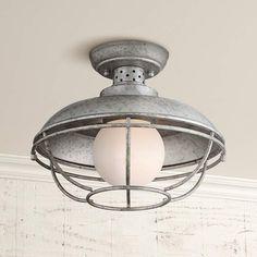 "Franklin Park Metal Cage 12"" Wide Steel Ceiling Light - #4F508 | Lamps Plus"