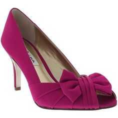 Nina Forbes Satin Pumps ($85) ❤ liked on Polyvore featuring shoes, pumps, berry, nina pumps, pink high heel shoes, pink bow pumps, satin shoes and pink shoes