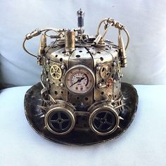 Steampunk Mechanical TOP Hat Burning man Cosplay Costume Halloween Party lightup