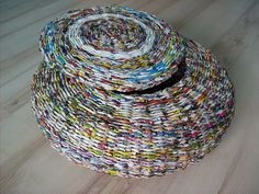 Basket with lid woven from *paper tubes* -- awesome work!  By Calabash Bazaar, aka the very talented Emilia Majek.  #repurpose #reuse #recycle  #weaving