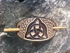 Black Triquetra hand carved leather hair barrette  hair