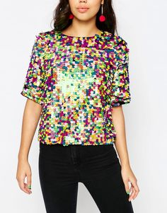Image 3 of ASOS Festival Sequin Tee