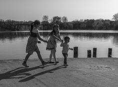 kids, children, park, summer, lake, play, water, shadows