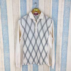 7d0c7bee595 KENZO GOLF Polo Shirt Men Large White Plaid Vintage 1990's Kenzo Polo Shirt  Japan Designer Kenzo Casual Shirts Size L