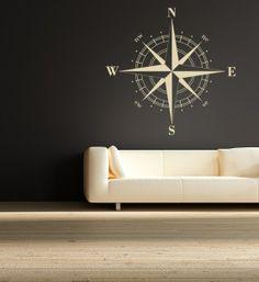 Compass Rose Nautical Vinyl Wall Decalgreat by EmpireCityStudios, $34.95