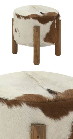 Luxurious hide in espresso and cream cover our cylinder-shaped stool, framed by elegant teak wood legs. It's exactly where you want to rest after kicking off your cowboy boots (or easing out of your ox...  Find the Hacienda Foot Stool, as seen in the #ModernFrontierStyle Collection at http://dotandbo.com/collections/modernfrontierstyle?utm_source=pinterest&utm_medium=organic&db_sku=117027