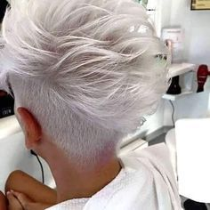 Icy Short Pixie Cut - 60 Cute Short Pixie Haircuts – Femininity and Practicality - The Trending Hairstyle Short White Hair, Very Short Hair, Short Hair Cuts, Funky Short Hair, Pixie Cuts, Short Pixie, Short Hair Undercut, Undercut Hairstyles, Haircut Short