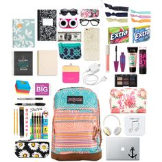 What's in My Bag? by fashionloveree on Polyvore featuring polyvore, fashion, style, JanSport, Croft & Barrow, BaubleBar, STELLA McCARTNEY, Forever 21, Happy Plugs, Frends, Glam Bands, Splendid, American Eagle Outfitters, NARS Cosmetics, Ilia, Maybelline, Sloane Stationery, Sugar Paper, Dot & Bo and Motel