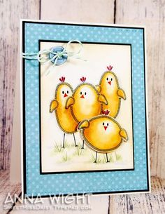 AnnaWight6605 - clever reshaping of the clear 'outline' chick stamp for different shapes, plus masking to make a group ;)