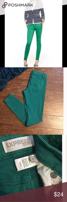 "Express green skinny jeans Express brand green skinny jeans. Great pre-loved condition. Broken in and comfortable. But no stains or rips and minimal fading. 🚫MEASUREMENTS laying flat:  waist is 15.25"" inseam is 29.5"" Express Jeans Skinny"