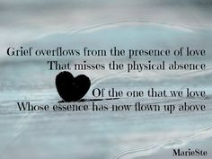 Grief overflows from the presence of love that misses the physical absence....of the one that we love, whose essence has now flown up above.