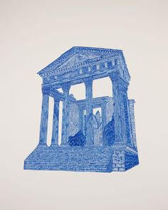 Timothy Hull, Temple I, Gel pen on paper