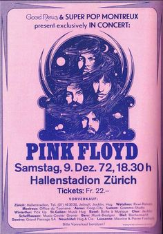Pink Played At The Hallenstadion, In Zurich, Switzerland, In 1972. It Was The Penultimate Gig From Their Winter Tour.