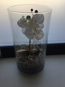 orhidee artificiala, orhidee in baie, orhidee in vas de sticla