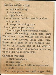 Vanilla Wafer Cake, clipped from a newspaper way back yonder when.