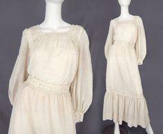Vintage 70s Ivory Boho 2 Pc Prairie Dress  by SadieBessVintage / Edwardian / Bohemian / Costumes / Steampunk / Cosplay