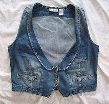 Women's Blue Denim Front Snap Crop Jean Vest CHICO'S PLATINUM Plus Size 0 Cute