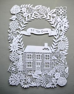 Personalised Home and Garden papercut, Housewarming, anniversary present, art, drawing