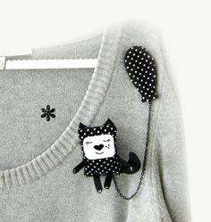Black cat brooch cat jewelry cute animal brooch