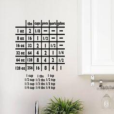 Cooking Measurements Vinyl Decal   Kitchen Decals, Home, Wall Art, Door Decor, 8.5x12 Kitchen Decals, Cooking Measurements, Oracal Vinyl, How To Apply, How To Get, Cricket, Vinyl Decals, I Shop, Wall Art
