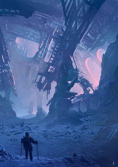 Science Fiction World Fantasy Places, Sci Fi Fantasy, Fantasy World, Environment Concept Art, Environment Design, Cyberpunk, Alien Worlds, Futuristic Art, Matte Painting