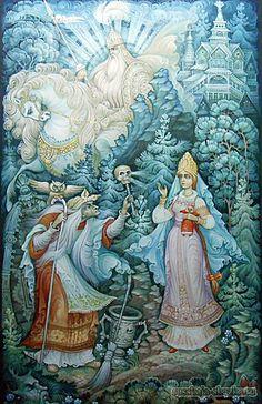 """Сказка """"Василиса Прекрасная"""" http://russkaja-skazka.ru/vasilisa-prekrasnaya/ — Я хочу спросить тебя, бабушка, только о том, что видела: когда я шла к тебе, меня обогнал всадник на белом коне, сам белый и в белой одежде: кто он такой? — Это день мой ясный, — отвечала баба-яга. #сказки #ВасилисаПрекрасная #БабаЯга #картинки #art #Russia #Россия #добро #дети  #иллюстрации #paint #картины #художник #Палех #ЛаковаяМиниатюра #RussianLacquerArt  #RussianFairyTales @russkajaskazka"""