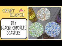 ▶ DIY EASY Beachy Concrete Coasters Another Coaster Friday Craft Klatch Concrete Crafting Series - YouTube
