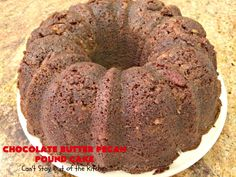 Chocolate Butter Pecan Pound Cake - Can't Stay Out of the Kitchen Chocolate Icing Recipes, Chocolate Butter, Chocolate Desserts, Cake Mix Recipes, Pound Cake Recipes, Dessert Recipes, Butter Pecan Pound Cake Recipe, Pudding Cake Mix, Banana Pudding Ingredients