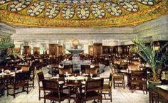 """By the 1920s there were seven restaurants altogether at Marshall Field's: the Narcissus Fountain Room, the North Grill Room, the South Grill (aka Circassian Walnut Room), the Wabash Avenue Tea Room, the Colonial Quick Service Tea Room, the Wedgwood Room, and the Men's """"Grill"""" in the Store for Men.  A graduate of Chicago's School of Domestic Arts and Sciences named Beatrice Hudson opened the all-male sanctum Men's Grill (pictured) about 1914 and was responsible for developing a famed corned…"""