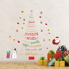 Walplus Christmas Tree Fun French Christmas Tree Wall Sticker Decor (Red)
