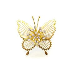 Vintage Monet Butterfly Brooch Rhinestones by RetroRageVictoria