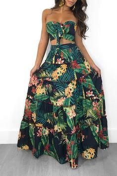Hawaii Bandeau Strapless Crop Top Skirt Two Piece Floral Printed Matching Set Maxi Skirt Crop Top, Strapless Crop Top, Strapless Dress Formal, Sexy Skirt, Sexy Women, Beach Skirt, Tropical Dress, Tropical Clothes, Long Skirts For Women