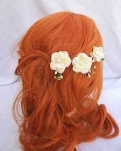 Ivory Bridal Flower Bobby Pins
