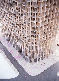 vijayawada tower by penda includes customizable components maquette presentatie toren appartementen terrassen structuur gevel