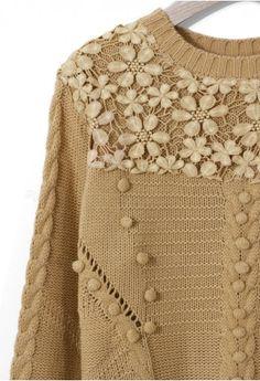 Crochet Floral Light Tan Sweater