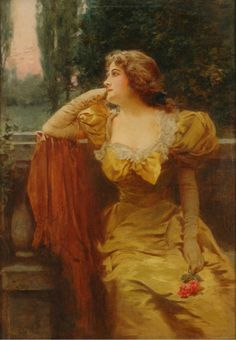 """Portrait of a Lady in a Gold Gown Seated in a Landscape Holding a Rose"" by John Leon Moran (1864-1941). """
