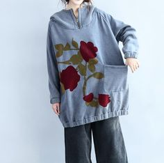 Hooded large size cotton loose fitting coat In blue/ by MaLieb